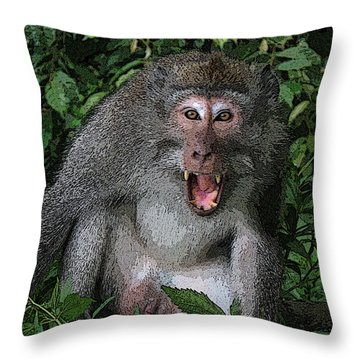 Aggressive Monkey From Bali Throw Pillow by Sergey Lukashin