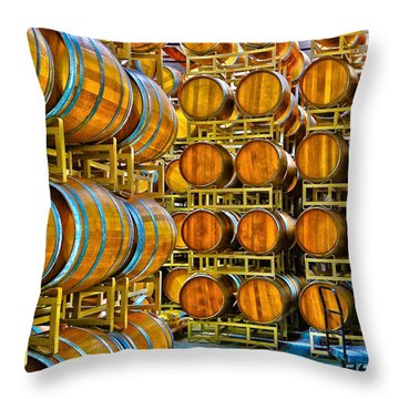 Aging Wine Barrels Throw Pillow