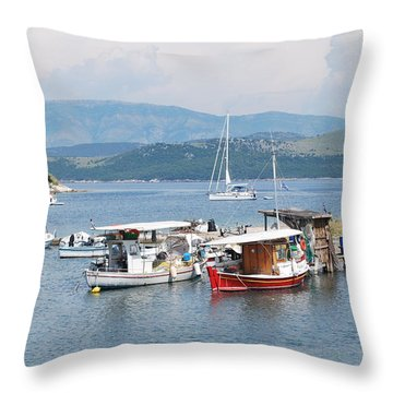 Agios Stefanos Throw Pillow by George Katechis