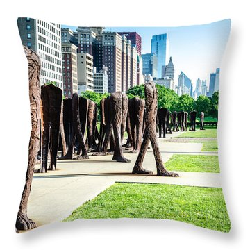 Agora Sculpture And Skyline Throw Pillow