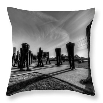 Agora Sculpture In The Morning In Black And White Throw Pillow