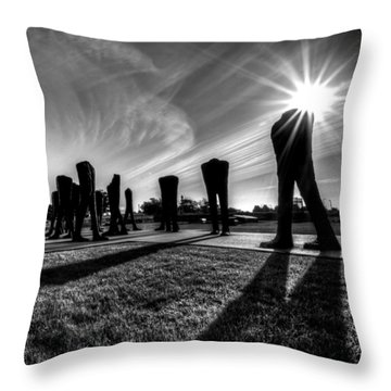 Agora Sculpture In The Morning With Sunburst In Black And White Throw Pillow