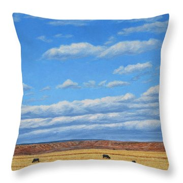 Grazing Throw Pillow by James W Johnson