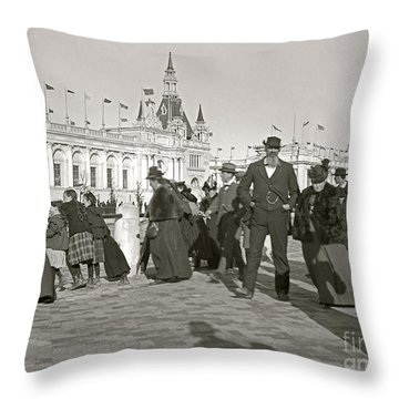 Throw Pillow featuring the photograph Agricultural Building Omaha Expo 1898 by Martin Konopacki Restoration