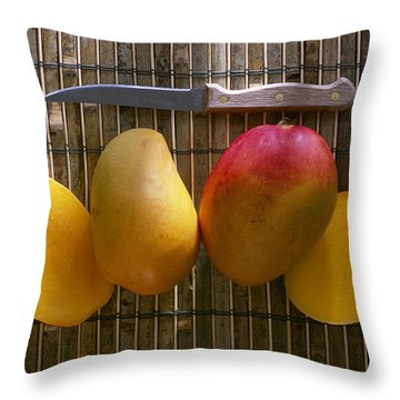 Agriculture - Sliced Sunrise Mango Throw Pillow by Daniel Hurst