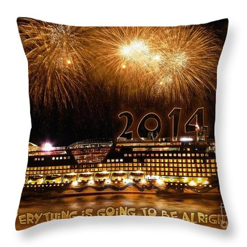 Aida Cruise Ship 2014 New Year's Day New Year's Eve Throw Pillow by Paul Fearn