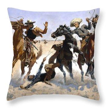 Aiding A Comrade Throw Pillow by Fredrick Remington