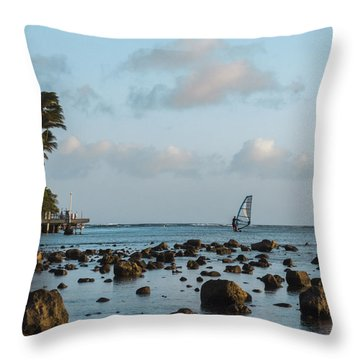 Aina Haina Windsurfer 1 Throw Pillow by Leigh Anne Meeks