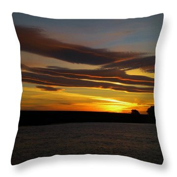 Air Brushed River Sunset Throw Pillow