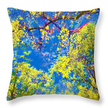 Air Brushed Spring Trees Throw Pillow
