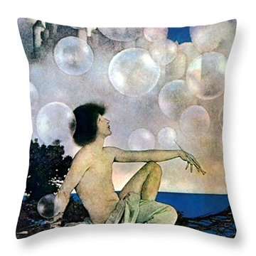 Air Castles Throw Pillow by Maxfield Parrish