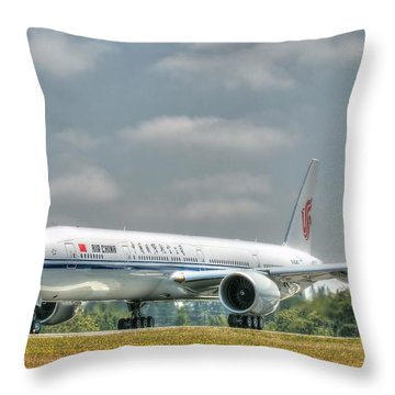 Throw Pillow featuring the photograph Air China 777 by Jeff Cook
