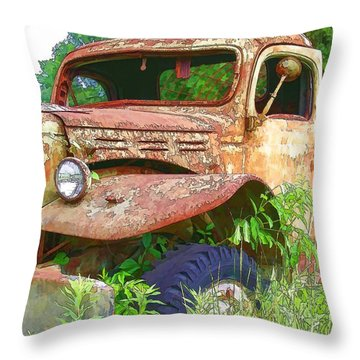Air Conditioned Rusty Ol' Truck Throw Pillow