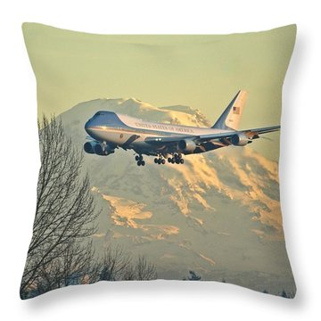Air Force One And Mt Rainier Throw Pillow