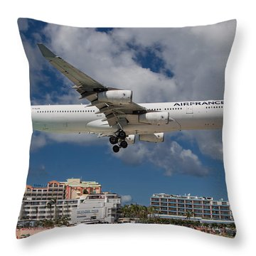 Air France Landing At St. Maarten Throw Pillow by David Gleeson