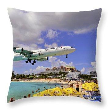 Air France Landing At St Maarten Throw Pillow