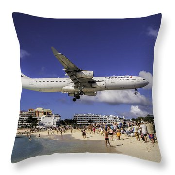 Air France St. Maarten Landing Throw Pillow by David Gleeson