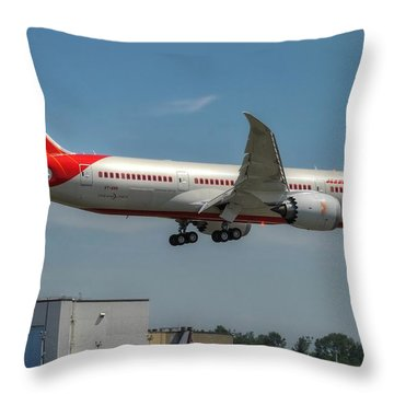 Throw Pillow featuring the photograph Air India 787 by Jeff Cook