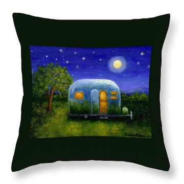 Airstream Camper Under The Stars Throw Pillow