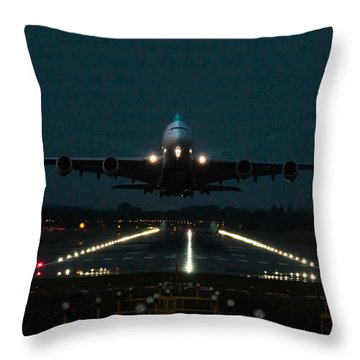 Airbus A380 Take-off At Dusk Throw Pillow