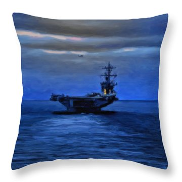 Aircraft Carrier Throw Pillow by Michael Pickett