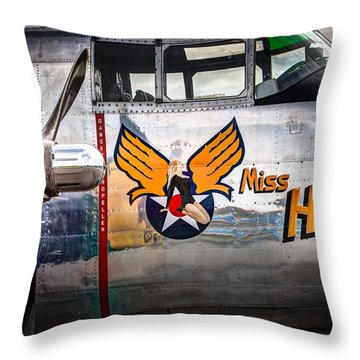 Throw Pillow featuring the photograph Aircraft Nose Art - Pinup Girl - Miss Hap by Gary Heller