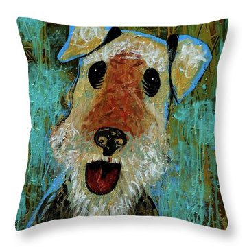 Airedale Terrier Throw Pillow by Genevieve Esson