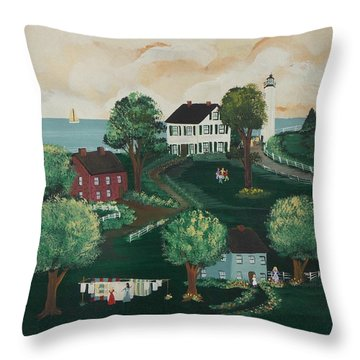 Throw Pillow featuring the painting Airing Out The Quilts by Virginia Coyle