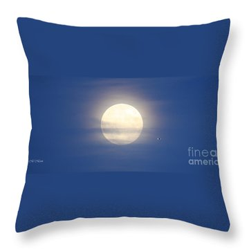 Airplane Flying Into Full Moon Throw Pillow