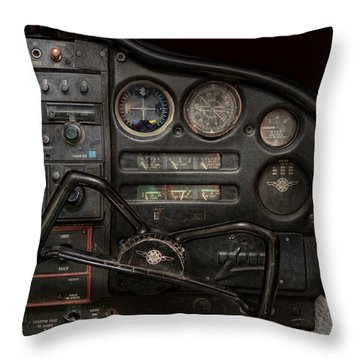 Airplane - Piper Pa-28 Cherokee Warrior - A Warriors View Throw Pillow by Mike Savad