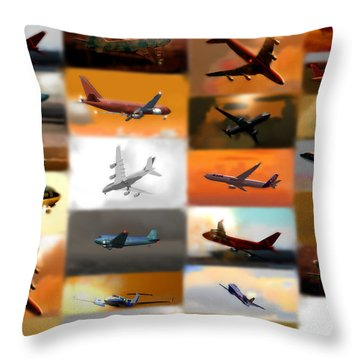 Airplanes Collage Throw Pillow by Marcello Cicchini