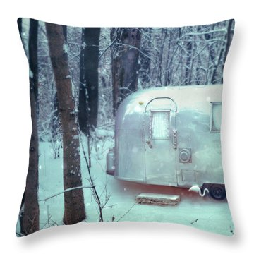 Airstream Trailer In Snowy Woods Throw Pillow