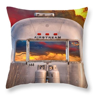 Airstream Travel Trailer Camping Sunset Window View Throw Pillow