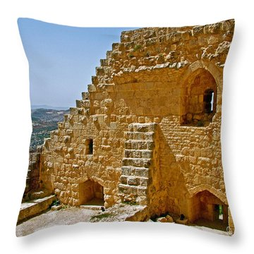 Ajlun Castle In Jordan Throw Pillow by Ruth Hager