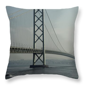 Akashi Kaikyo Bridge Posterization Throw Pillow by Daniel Hagerman