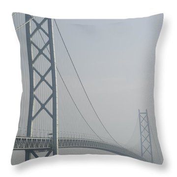 Akashi Kaikyo Suspension Bridge Of Japan Throw Pillow by Daniel Hagerman