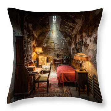 Throw Pillow featuring the photograph Al Capone's Cell - Historical Ruins At Eastern State Penitentiary - Gary Heller by Gary Heller