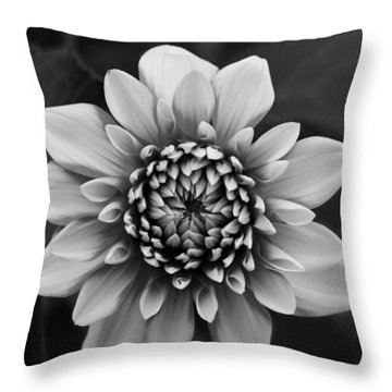 Ala Mode Dahlia In Black And White Throw Pillow