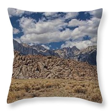 Alabama Hills And Eastern Sierra Nevada Mountains Throw Pillow by Peggy Hughes