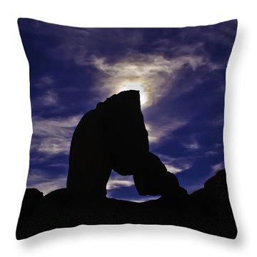 Alabama Hills Arch Silhouette Throw Pillow by Sherri Meyer