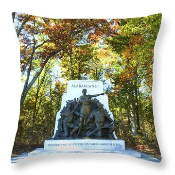 Alabama Monument At Gettysburg Throw Pillow by Paul W Faust -  Impressions of Light