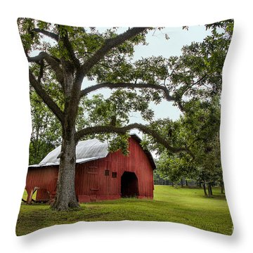 Alabama Red Barn  Throw Pillow