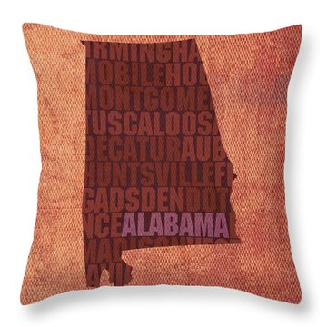 Alabama Word Art State Map On Canvas Throw Pillow by Design Turnpike