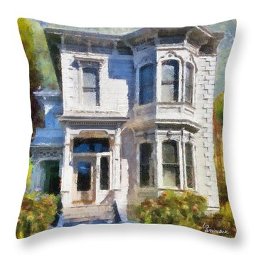 Alameda 1880 - Queen Anne  Throw Pillow by Linda Weinstock