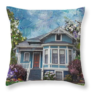 Alameda 1884 - Eastlake Cottage Throw Pillow by Linda Weinstock