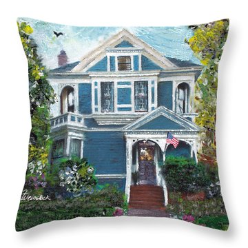 Alameda 1887 - Queen Anne Throw Pillow by Linda Weinstock