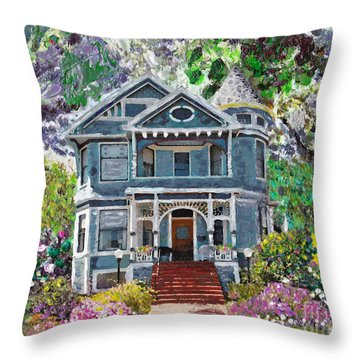 Alameda 1890 Queen Anne Throw Pillow by Linda Weinstock
