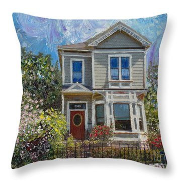 Alameda 1892 Queen Anne Throw Pillow by Linda Weinstock