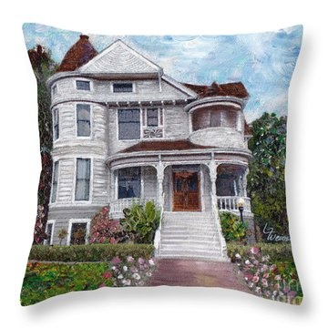 Throw Pillow featuring the painting Alameda 1897 - Queen Anne by Linda Weinstock