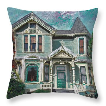 Alameda 1897 - Queen Anne Throw Pillow by Linda Weinstock